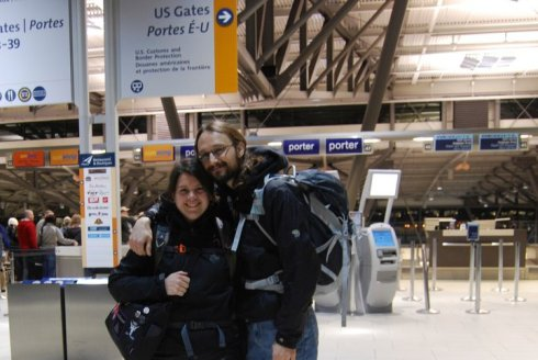 Us at the Ottawa airport - photo by Ginette Giroux